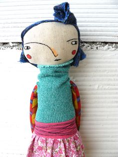 Art doll with blue fabric hair. Embroidered face. 32 cm