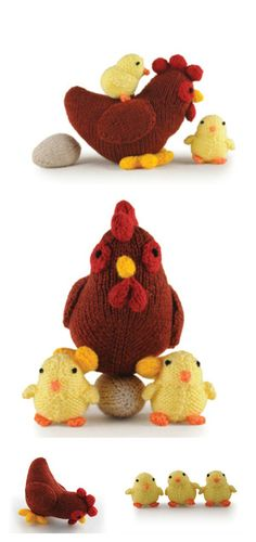 Hen Chicks and Eggs Free Knitting Pattern Easter chicks are spirited with the wonder of birth. These Adorable Chick Free Knitting Patterns are great for easter craft activities. Animal Knitting Patterns, Christmas Knitting Patterns, Stuffed Animal Patterns, Crochet Patterns, Knitting Projects, Crochet Projects, Chicken Pattern, Crochet Chicken, Knitted Flowers