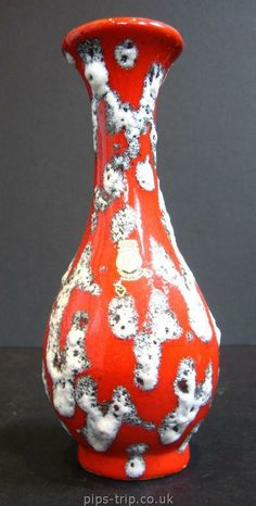 SOLD POTTERY ARCHIVES : German Pottery 1 : 1960's ES Keramik (West German) Red/White Lava Vase
