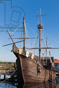 Replicas of the ships Columbus sailed to the Americas in at El Muelle de las Carabelas, or The Wharf of the Caravels at Palos de la Frontera, Huelva Province, Andalusia, southern Spain.