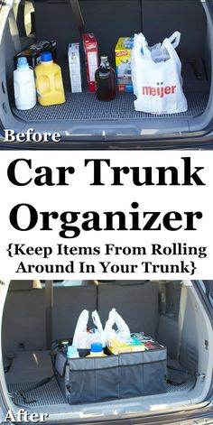 Keep your trunk more organized, and from things rolling around back there, by using a trunk organizer. Quite a difference in the before and after!