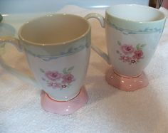 Pfaltzgraff rose coffee mugs footed coffee or by GingersLittleGems