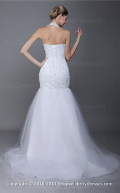 Trumpet/Mermaid Scalloped Floor-length White Lace,Organza Wedding Dresses