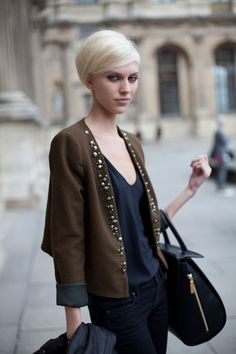 STREET STYLE SPRING 2013: PARIS FASHION WEEK - This model proves that Vuitton hair works equally well on the street as the runway.