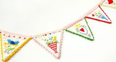 hopscotch lane: Embroidered Bunting