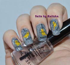 Nails by Malinka: Yellow and grey