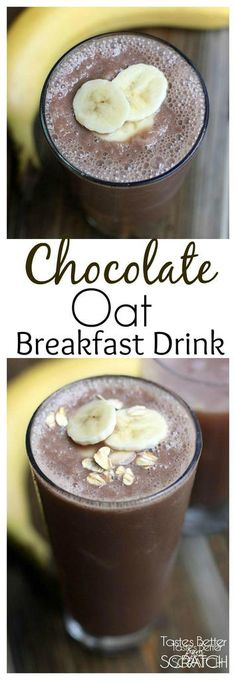 Chocolate Oat Breakfast Drink with cashew milk, bananas, oats, and vanilla is a simple and healthy breakfast drink that is packed with protein and whole grains. | tastesbetterfromscratch.com via @betrfromscratch