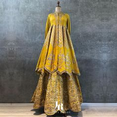 Yellow embroidered scallop hem lehenga paired with a scallop peplum kurta. ・・・・・・ Contact us on or email us on… Winter Wedding Outfits, Indian Wedding Outfits, Indian Outfits, Winter Weddings, Indian Dresses, Outfit Winter, Choli Designs, Lehenga Designs, Blouse Designs