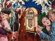 This happy scene was advertising Wurlitzer Jukeboxes, around 1948-49. These are still available in working condition.