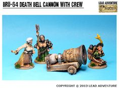 """Cannon """"Death Bell"""" with Crew Lead Adventure, Cannon, Bookends, Death, Miniatures, City, Cities, Minis"""