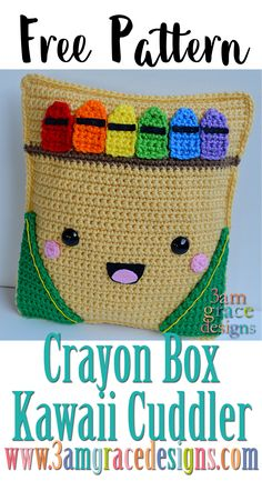 FREE crochet pattern - Crayon Box Kawaii Cuddler! Perfect for Back To School!