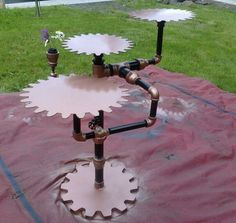 interesting gear and pipe stand