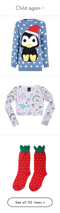 """Child again ~"" by milluskah ❤ liked on Polyvore featuring tops, sweaters, shirts, christmas, jumpers, blue, crew shirt, christmas sweaters, crew-neck shirts and long sleeve shirts"