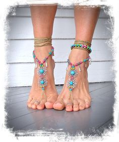 Sweetheart BAREFOOT SANDALS Toe Thongs Beach wedding Pink and Turquoise dance foot jewelry Boho shoes Resort jewelry GPyoga