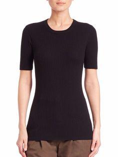 FRAME DENIM Short Sleeve Crew Ribbed Knit Sweater Shirt Top Black XS XL $220 #FrameDenim #Crewneck #Formal