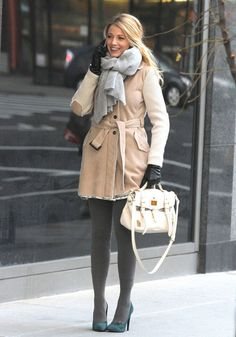 Big coats and scarves... plus some gray tights. Nice.