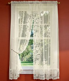 Floral Point Lace Rod Pocket Curtains - Filter the light with this romantic lace, showcasing an elaborate floral design and all over scattered leaves set on a netted background. Finished with a scalloped hem.