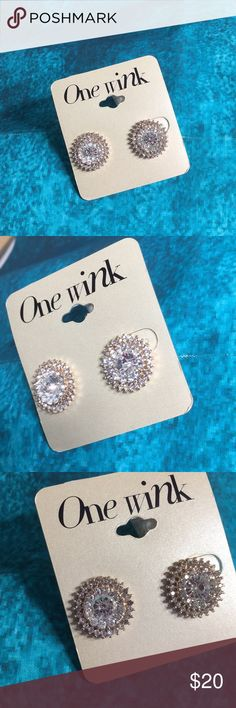 One Wink Costume Earrings Round sparkly silver and faceted CVs. 3/4 of an inch in diameter.  Double. Earring backs.  Beautiful. one wink Jewelry Earrings