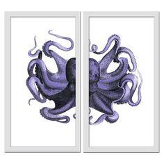 PTM Octopus 2 Piece Framed Graphic Art Set