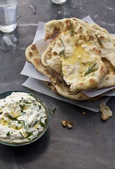 Garlic and rosemary bread with ricotta and chive dip.