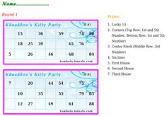 Group Tickets with Prize list Ladies Kitty Party Games, Kitty Party Themes, Kitty Games, Cat Party, Theme Ideas, Party Ideas, Tambola Game, One Minute Games, Party Rules