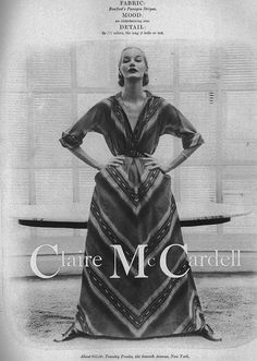 Claire McCardell Fashion Designs can teach fashion design and construction if you take a close look at how they are put together. Let's look closely Claire Mccardell, Fashion Walk, New York Fashion, Vintage Dresses, Vintage Outfits, Vintage Clothing, Pierre Hotel, Dior, Vintage Fashion Photography