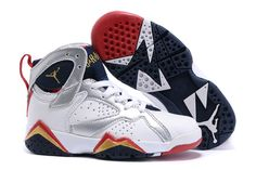 finest selection 6cae6 3082a Kids Youth Air Jordan VII 7 Olympic Gold Medal WHite Gold Black Jordan Shoes  For Kids