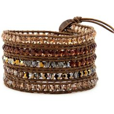 5 layer handmade wrap bracelet with bronze crystal color mix ($51) ❤ liked on Polyvore featuring jewelry, bracelets, bronze bangle, crystal jewellery, crystal bangles, layered jewelry and bronze jewelry