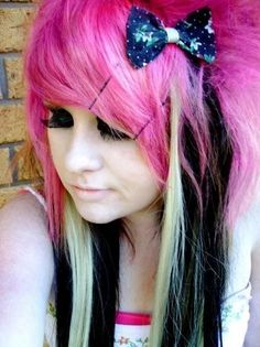pink black blonde emo hair with bow