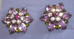 Avon Berry Colored Button Earrings-Pierced