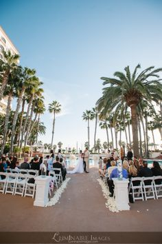 Waterfront Beach Resort Pool Area For Wedding Ceremony In Huntington CA