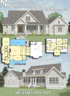 Nice retirement...us down, guests up. Architectural Designs Farmhouse Plan 130012LLS gives you 3 beds, 2.5 baths and over 2,800 sq. ft. of heated living space.