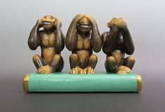 Herend Porcelain Kingdom Classic 3 Three Wise #Monkeys Natural Color 45836 #Herend