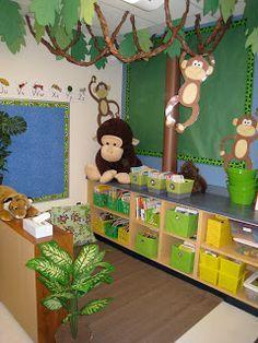 Jungle theme classroom decorations jungle theme classroom the creat chalkboard caught zebra fever and seeing jungle theme classroom decorating ideas Rainforest Classroom, Jungle Theme Classroom, Rainforest Theme, New Classroom, Classroom Design, Classroom Displays, Kindergarten Classroom, Classroom Themes, Book Corner Classroom