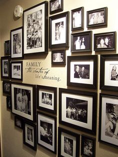 White wall and picture frames in hallway decorating ideas 16 hallway walls Picture Arrangements, Photo Arrangement, Family Pictures On Wall, Family Wall, Family Picture Walls, Family Picture Collages, Display Family Photos, Collage Picture Frames, Wall Collage