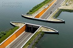 Smart idea—a tunnel under the water, rather than a bridge that has to be raised for boats—Veluwe Lake aqueduct in Flevopolder, Holland❣