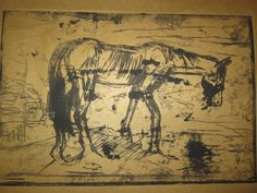 starving horse, monoprint.