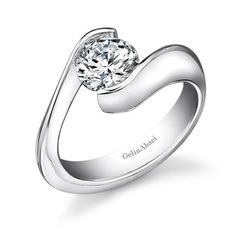 Gelin Abaci - Platinum Engagement Ring with a Tension Setting and Round-Cut Center Diamond  