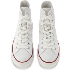 Converse White 'All Star' hi-top trainers ($33) ❤ liked on Polyvore featuring shoes, sneakers, converse, converse sneakers, white shoes, white high tops, converse footwear and white hi top sneakers
