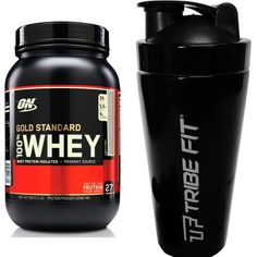 Netshoes KIT 100% WHEY GOLD STANDARD 2 LBS - OPTIMUM + COQUETELEIRA AÇO INOX TRIBE FIT - R$169,92