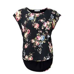 Hot Options Silky-Feel Floral Front Top