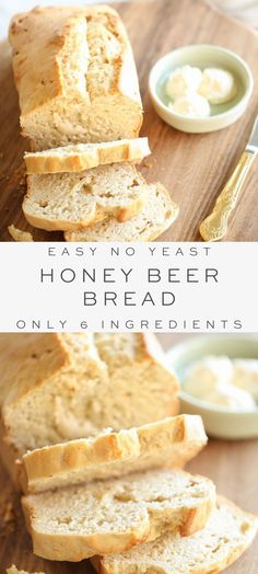 Easy 6 ingredient Honey Beer Bread – a no fuss, no yeast, 1 dish recipe! # Food and Drink homemade Foolproof Honey Beer Bread Recipe {in just 5 minutes! Easy Bread Recipes, Baking Recipes, Dessert Recipes, Quick Bread, Salad Recipes, Honey Beer Bread, Artisan Bread, Bread Baking, Food Dishes