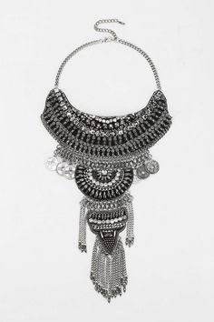 Taza Leather Chain Statement Necklace