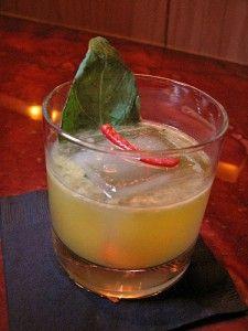 lemon, chili and red bell pepper, agave, rye whiskey, basil