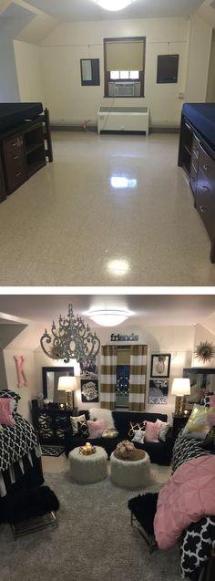 College Dorm Living Room Ideas - before and after. Teenage Girl Bedrooms, Girls Bedroom, Bedroom Ideas, Design Bedroom, Bedroom Decor, Dorm Life, College Life, College School, Boarding School Dorm