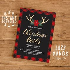Christmas Party Invitation Template DIY par JazzHandsPaperCo