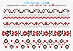 Semne Cusute: modele pentru camasi - DOBROGEA - Tulcea Cross Stitch Borders, Cross Stitch Designs, Cross Stitching, Cross Stitch Patterns, Folk Embroidery, Cross Stitch Embroidery, Embroidery Patterns, Loom Beading, Beading Patterns