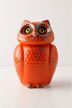 "Wise Ol' Cookie Jar, Orange. She'll know when you've taken the last chocolate chip or oatmeal raisin, but she'll never tell.  Stoneware.  Hand wash.  10.5""H, 7"" diameter.  Italy.  #873308  $128.00 color:ORANGE"