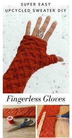 DIY Fingerless Gloves Upcycled Sweater tutorial from FiberArtsy.com