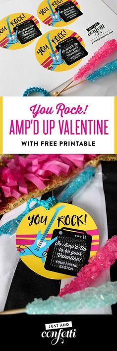 You Rock! Amp'd Up Valentine, You Rock, Amp'd Up, valentine, valentine printable, classroom valentine, valentine free printable, free printable, kids valentine, school valentine, easy valentine, Just Add Confetti, Just Add Confetti printables, rock star v